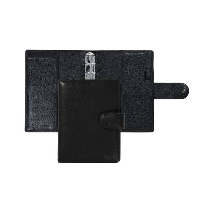 SUCCES Senior Ringbuch, 9.5 x 15 cm, Cadiz Rindleder, schwarz