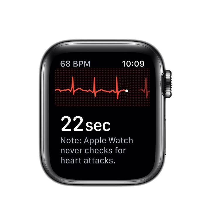 APPLE Watch Series 5 GPS + LTE Space Schwarz/Schwarz (40 mm, Edelstahl, Silikon)