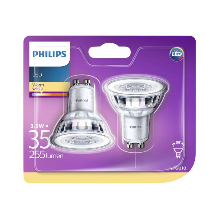 Philips LED Refl GU10 3.5W 2er Glas ND W