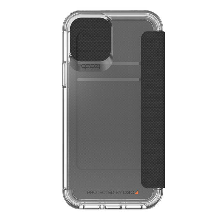 GEAR4 Flipcover Wembley Flip (iPhone 12, iPhone 12 Pro, Antibatterico, Transparente, Nero)