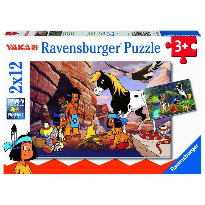 RAVENSBURGER Unterwegs mit Yakari (2 x 12 pezzo, Puzzle 2D)