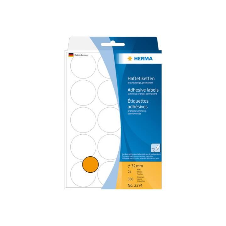 Etiquettes HERMA rondes 32mm orange