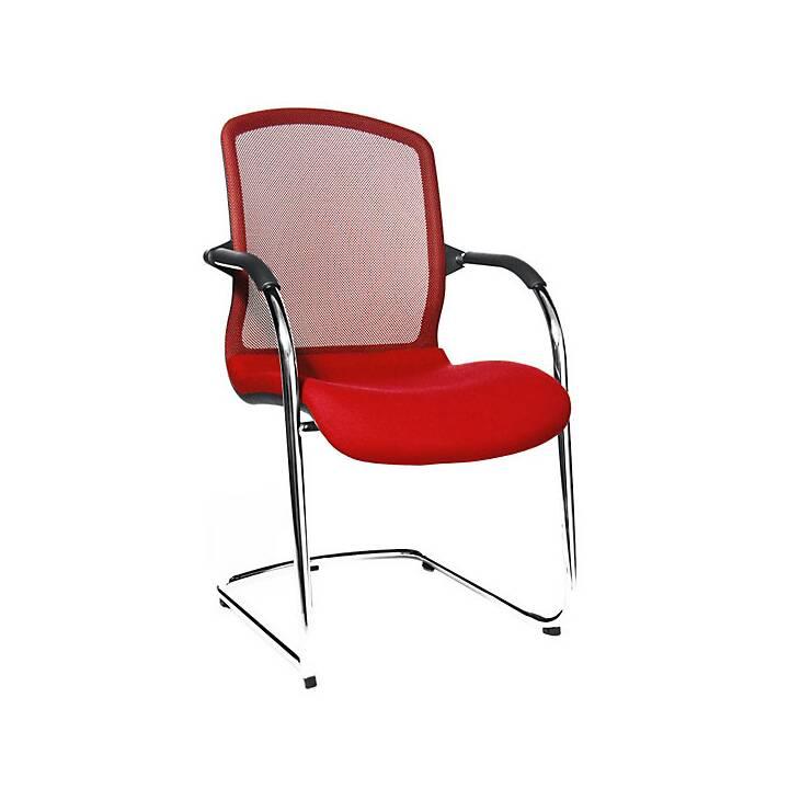TOPSTAR Open Chair Konferenzstuhl (Rot, Schwarz, Chrom, 2 Stück)