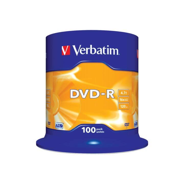 VERBATIM 100 x DVD-R 4,7 Go