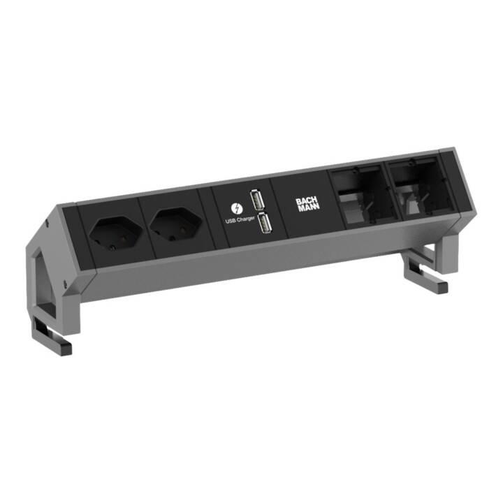 BACHMANN Desk2 Presa(i) 2AC interna(e) nero, cavo di prolunga in acciaio inossidabile