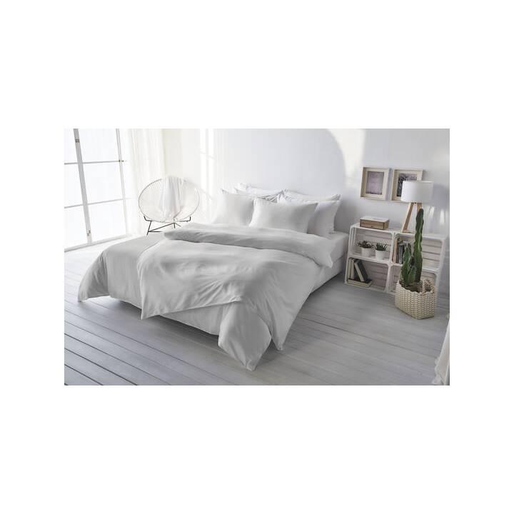 LIVING HOME Copripiumone Uni Satin (240 cm x 240 cm, Argento)