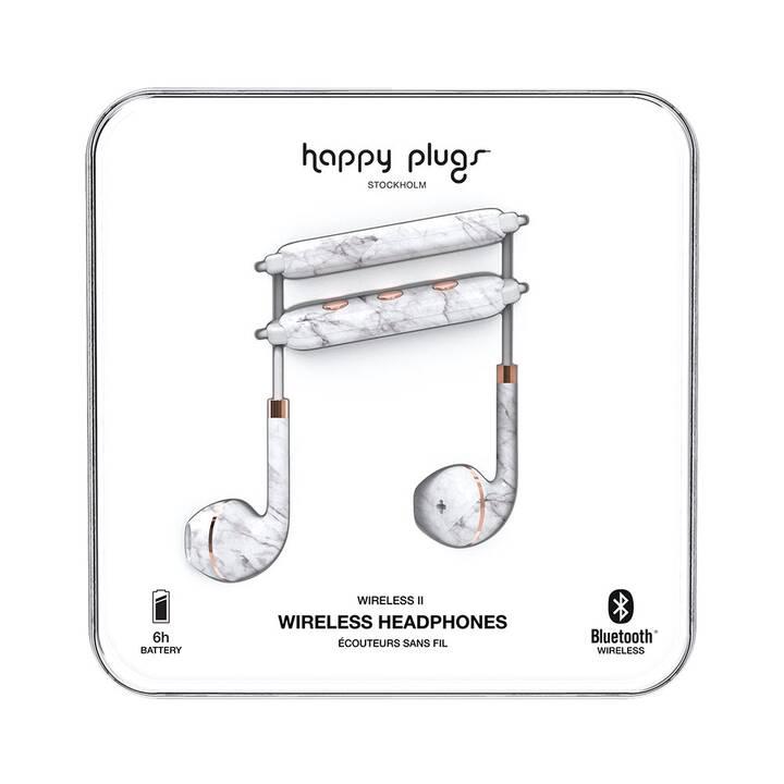 HAPPY PLUGS White Marble Wireless II (In-Ear, Bluetooth 4.2, Bianco)
