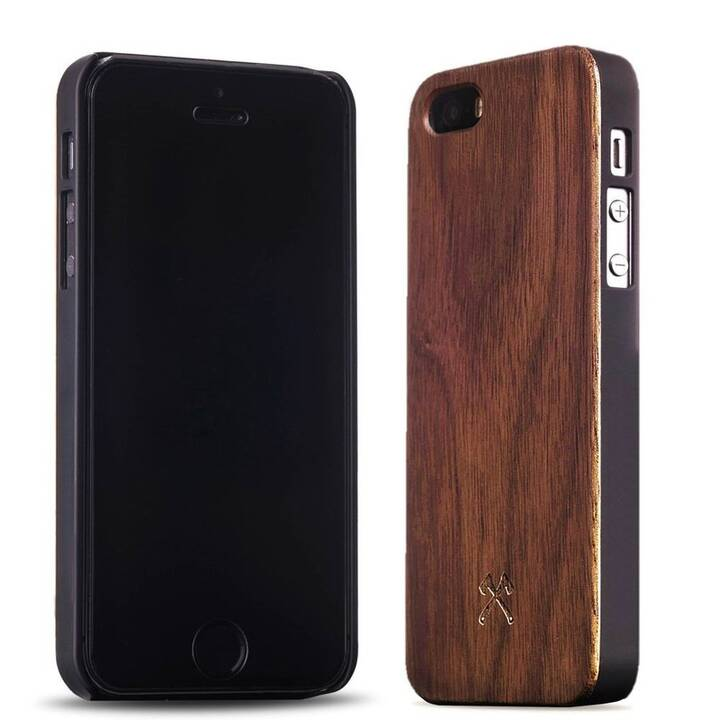 WOODCESSORIES Backcover (iPhone 5SE, iPhone 5, iPhone 5S, Braun, Schwarz)