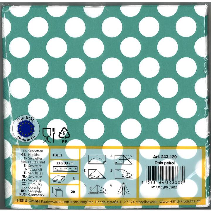 HEKU Serviette en papier Dots petrol (33 cm x 33 cm, 20 pièce, Pointé)