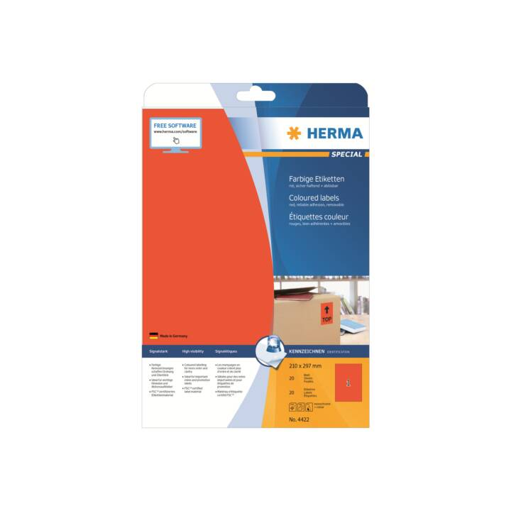 HERMA Farbige Etiketten A4 210x297 mm 20 Stück