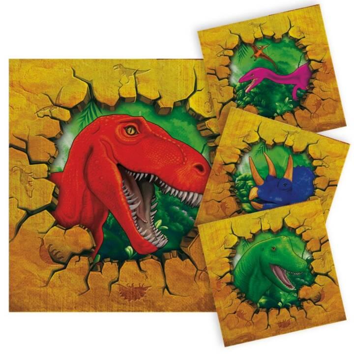 FOLAT Serviette en papier Dino (25 cm x 25 cm, 16 pièce, Animal)