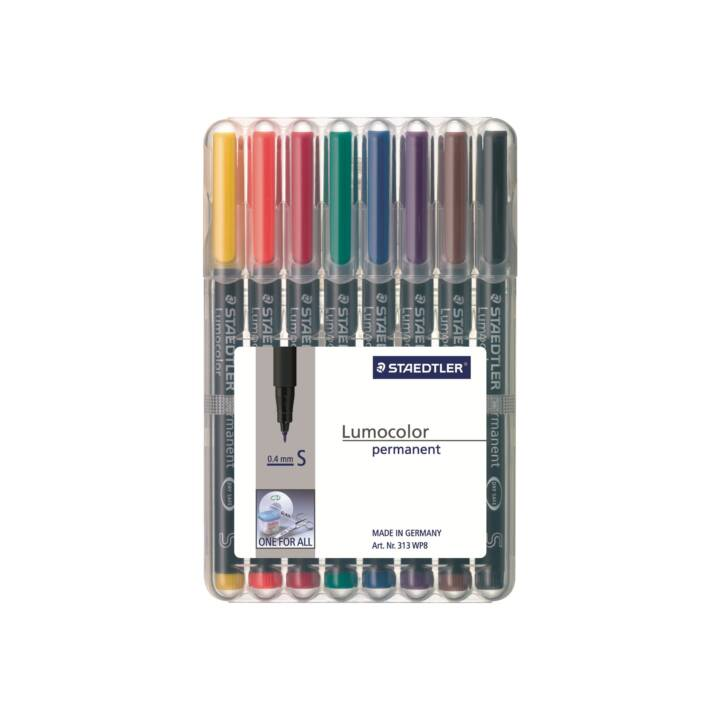 STAEDTLER Marqueur permanent Lumocolor, 0.4 mm, 8 couleurs