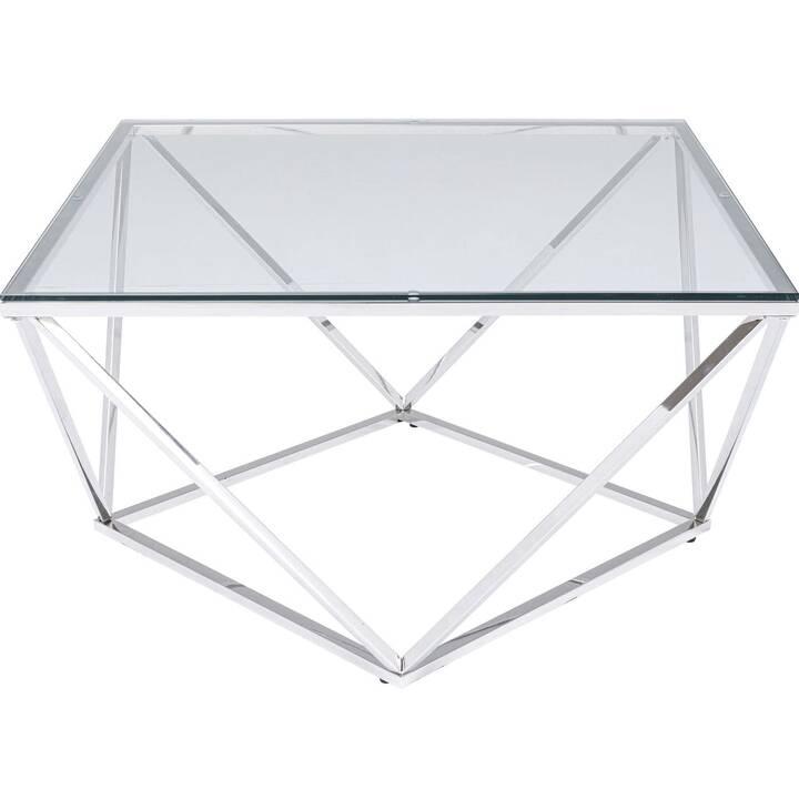 KARE Tavolino da salotto Cristallo (45 cm, Argento, Transparente)