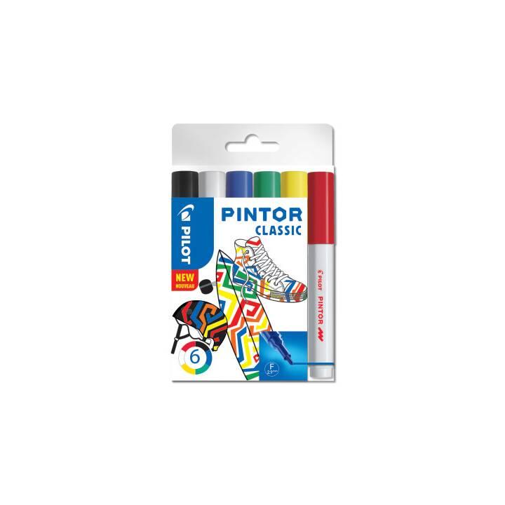 PILOT PEN Marqueur créatif Pintor (Noir, Blanc, Bleu, Vert, Jaune, Rouge, 6 Pièce)