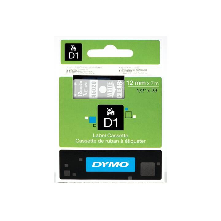 DYMO Standard-D1 Schriftband (12 mm x 7 m, Weiss / Transparent)