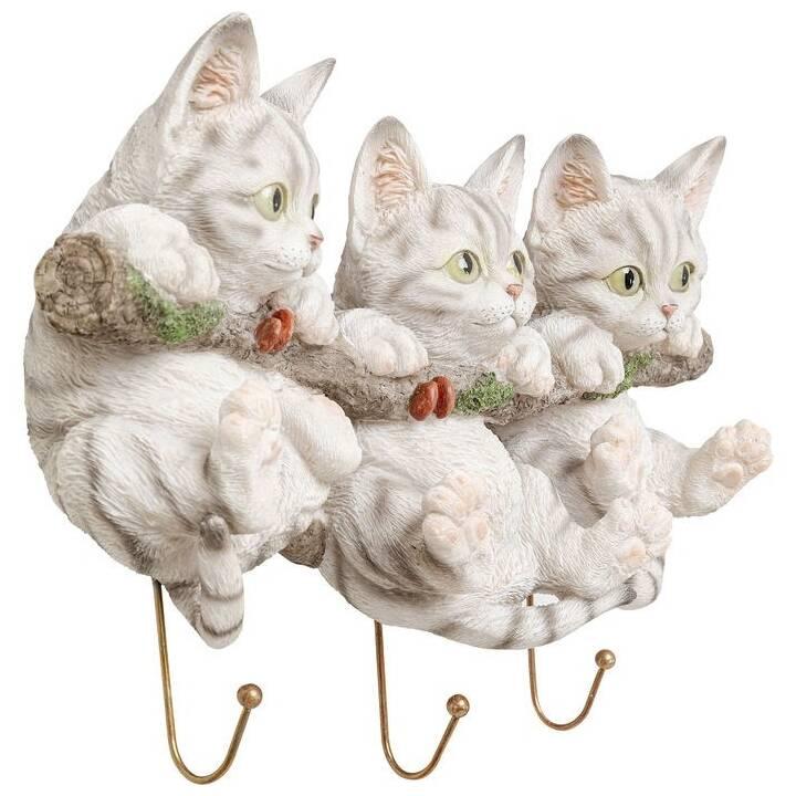 KARE Ganci da parete Three Mini Cats (Grigio chiaro)