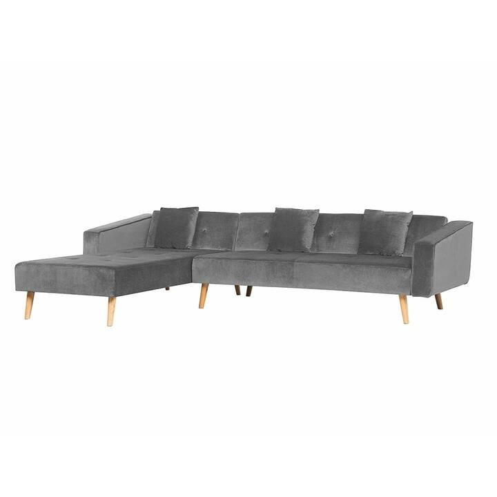 BELIANI Vadso Canapé d'angle (Velours, Polyester, Gris, 303 cm x 72 cm)