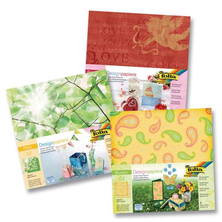 FOLIA Carta da disegno Blumen (Multicolore)