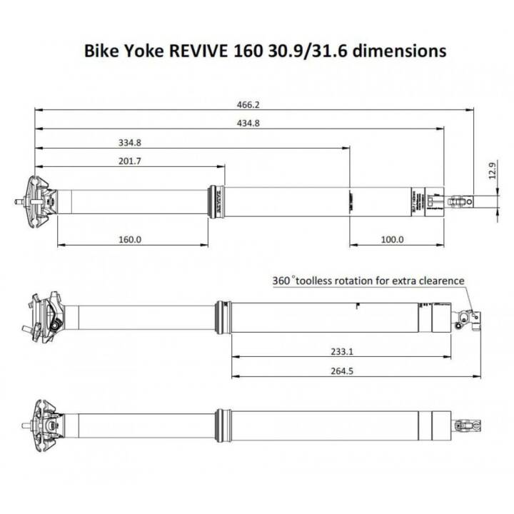 BIKEYOKE Accessori per bicicletta Revive Dropper Post 31.6/160 mm (Nero)