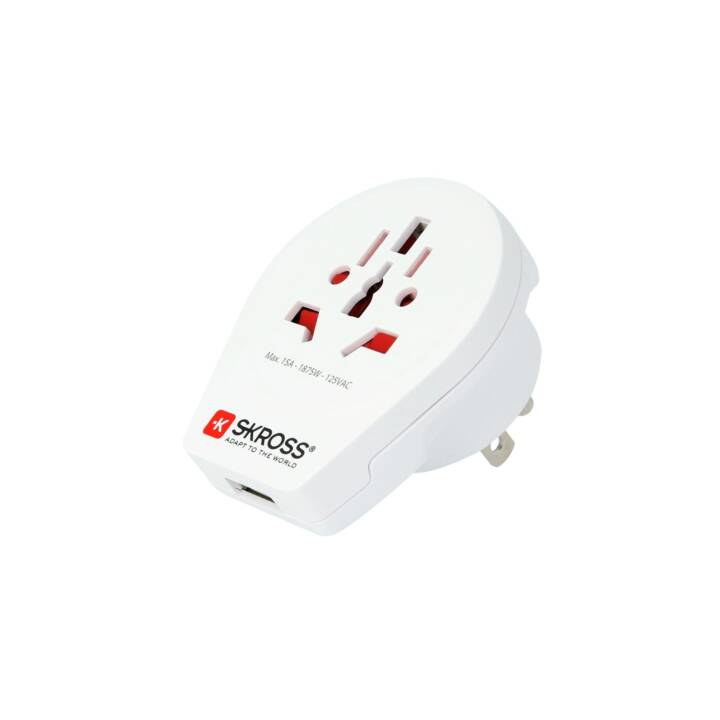 SKROSS Country Adapter World to USA, USB