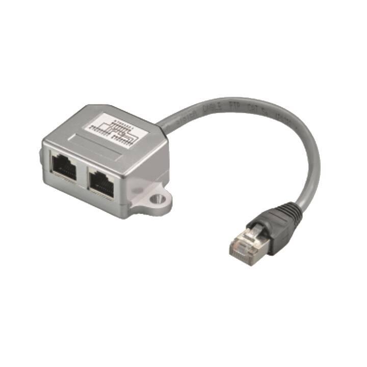 Séparateur de réseau M-Cab RJ-45 (LAN) fiche vers 2x prise RJ-45 (LAN) CAT5, argent