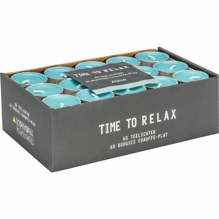 Time to Relax Aqua Candela per la luce del tè (Blu, 60 pezzo)