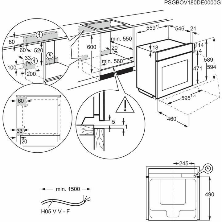 AEG Forno da cucina BOBZRM (Inserire, 71 l, 400 V)