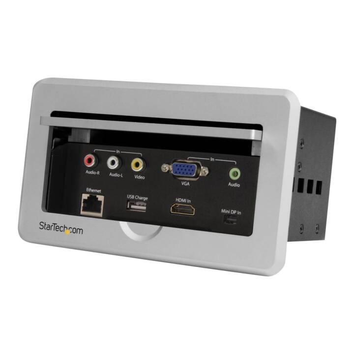 STARTECH.COM Konferenztisch Tischanschlussfeld, HDMI / VGA / Mini DisplayPort - HDMI mit Schnelllade USB Port + Befestigungsplatte
