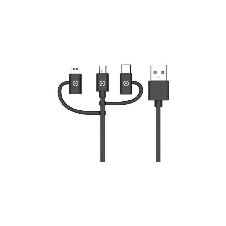 CELLY Kabel (USB Typ-A, Micro USB, Lightning, USB Typ-C, 1 m)