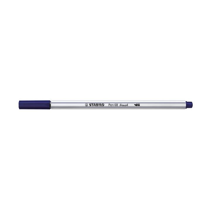 STABILO Pen 68 brush Filzstift (Blau, 1 Stück)