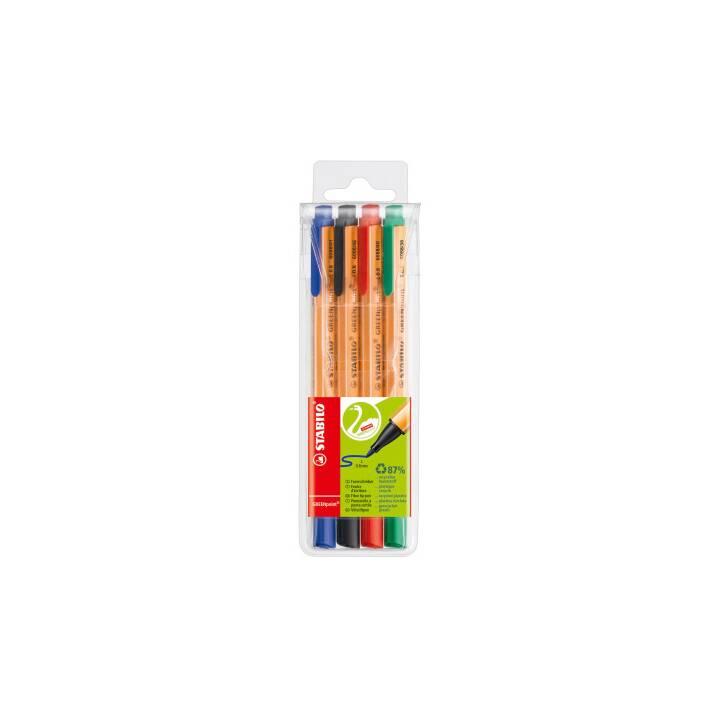 STABILO Faserschreiber GREENpoint 0,8mm Etui mit 4 Farben