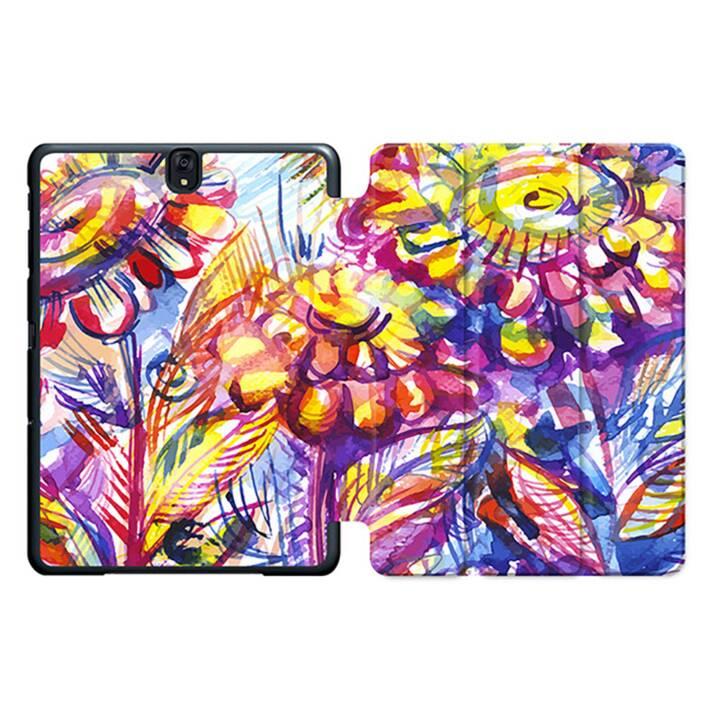 """EG MTT Sacoche à comprimés avec housse pliable Smart pour Samsung Galaxy Tab S3 9.7"""" MTT - Fleurs violettes"""