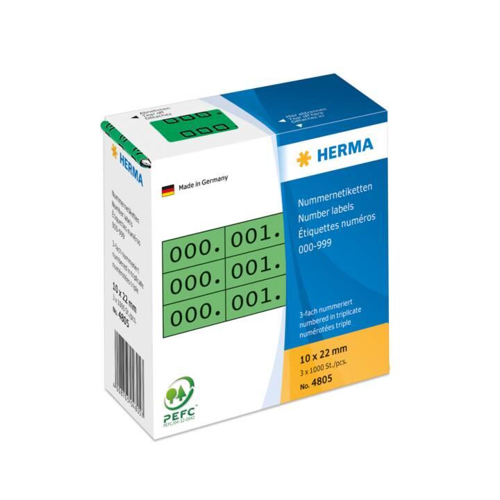 Etiquettes d'identification HERMA triple autocollantes 10x22 mm