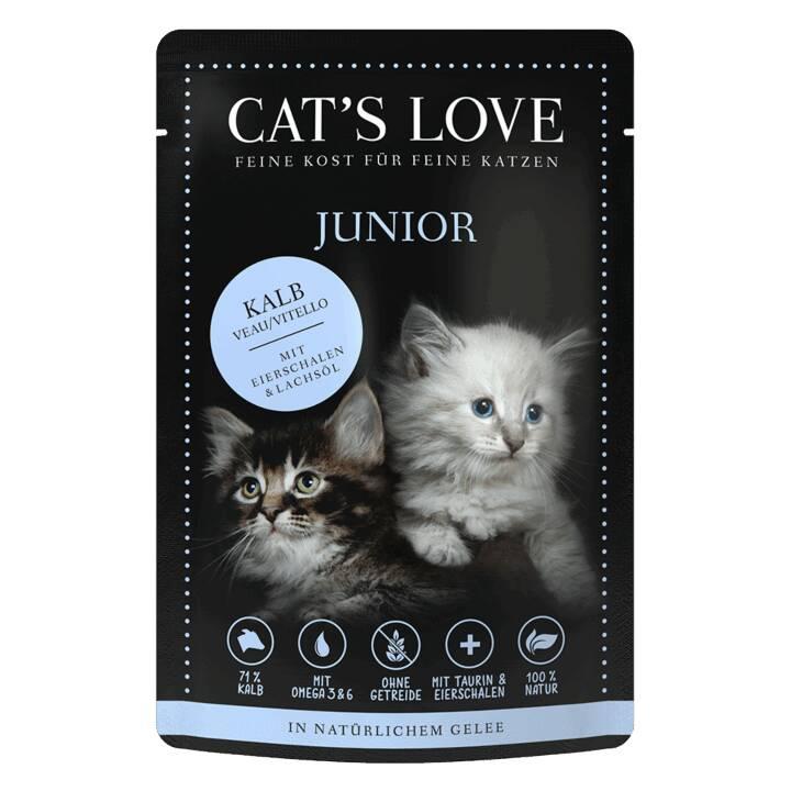 CAT'S LOVE Pur (Junior, 85 g, Kalb)