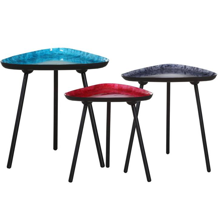 MUTONI VINTAGE Tavolino Tea (50 cm, Rosso, Nero, Blu, Grigio)