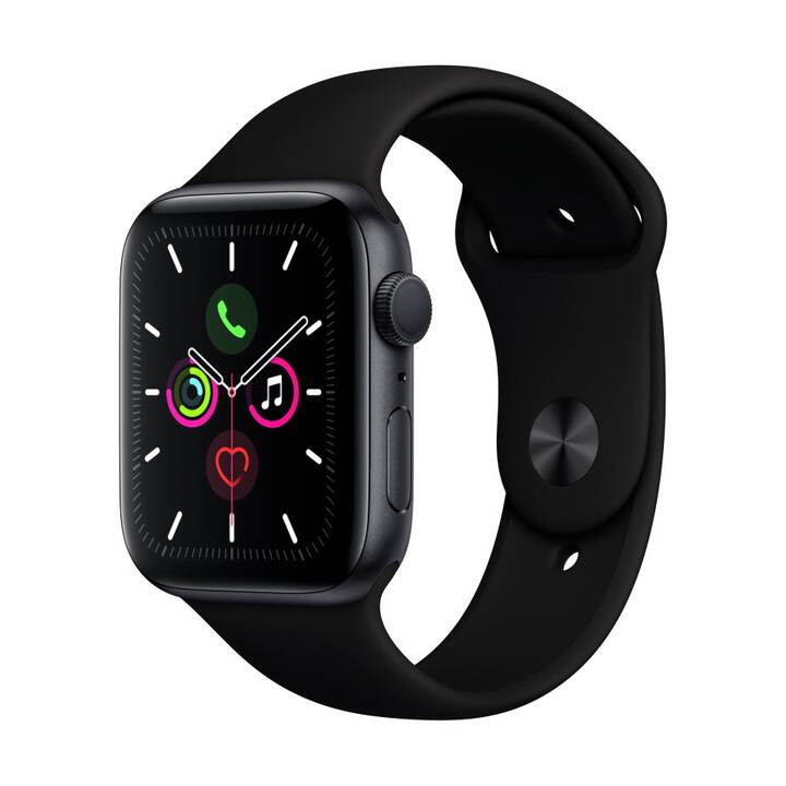 APPLE Watch Series 5 GPS Space Grey/Black (44 mm, Alluminio, Silicone)