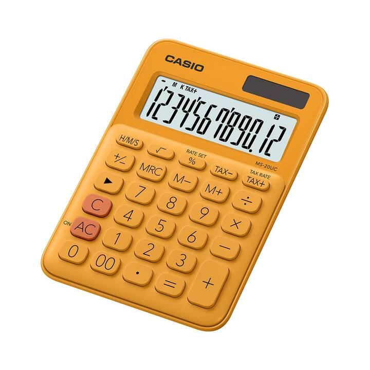 CASIO MS-20UC-RG Calculatrice de bureau de poche simple Calculatrice de poche orange Calculatrice de poche orange