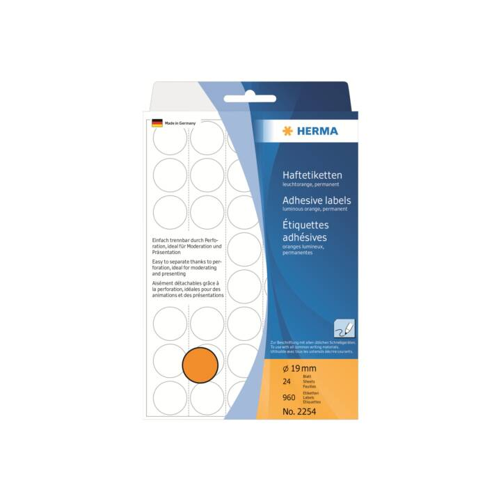 Etiquettes HERMA rondes 19mm orange