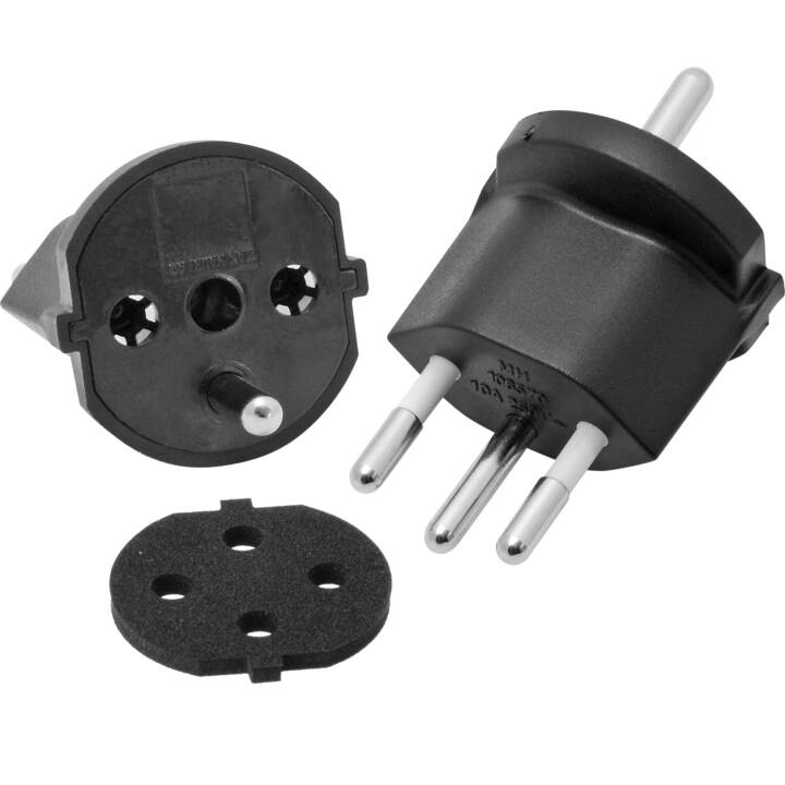 MAX HAURI Fixadapter IP44 T12 3-pin (Typ F, Schukosteckdose / Typ J, CH)