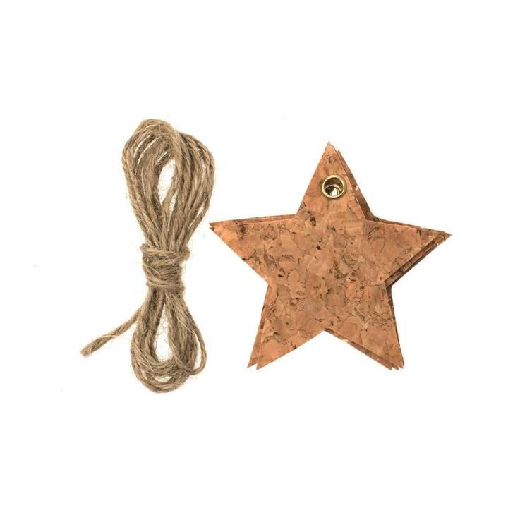 Glorex Kork-Sterne mit Schnur, 4 Stück