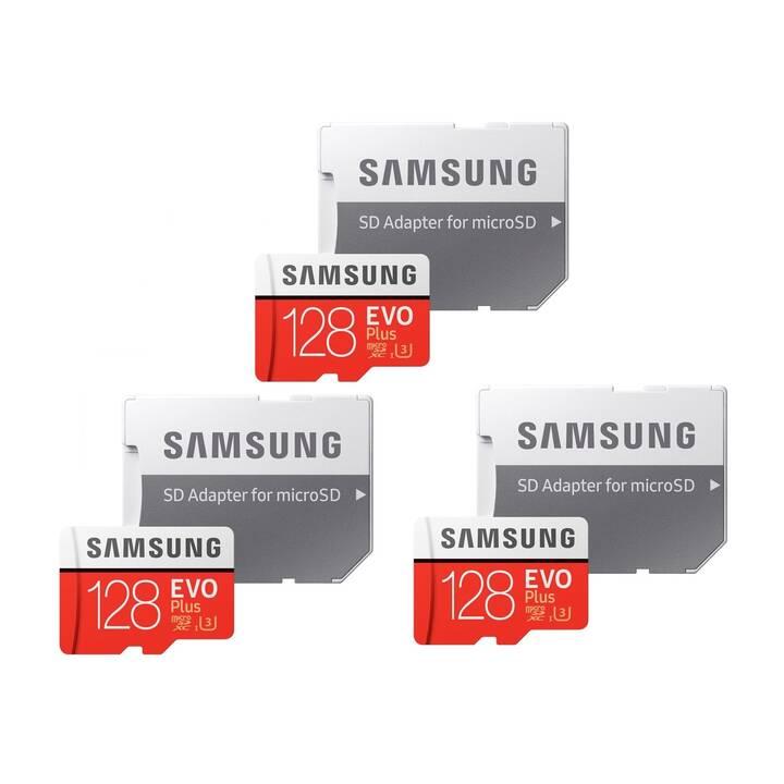 SAMSUNG MicroSDXC Evo+ Triple Pack (128 GB, 100 MB/s)