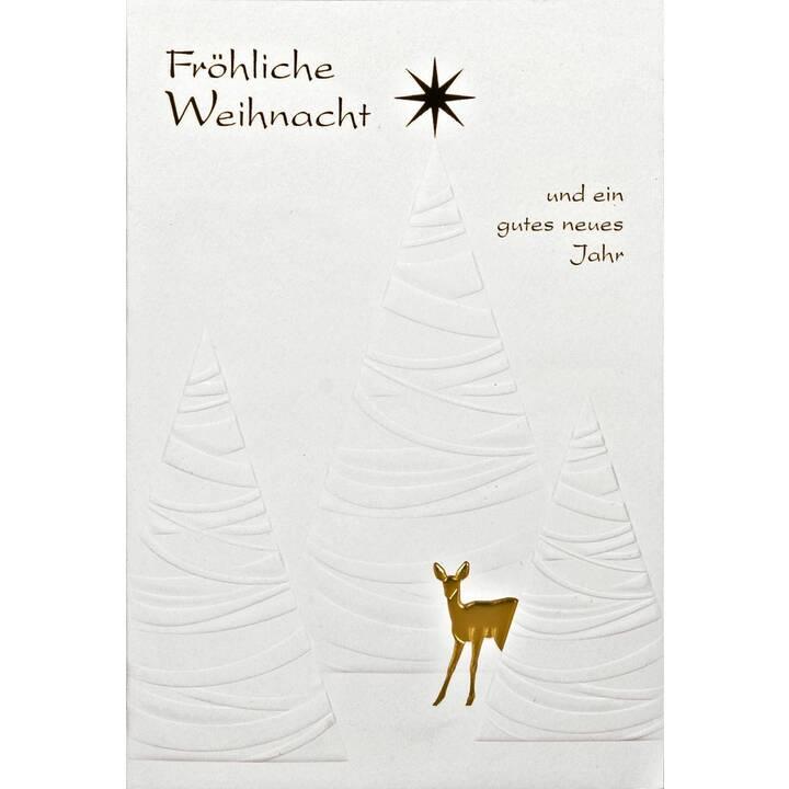ABC Weihnachtskarte (Weihnachten / Advent, B6, Weiss, Gold)
