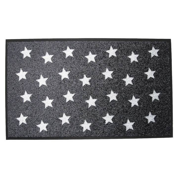 KLEEN MAT Zerbino Stars (45 cm x 75 cm, Nero, Bianco)