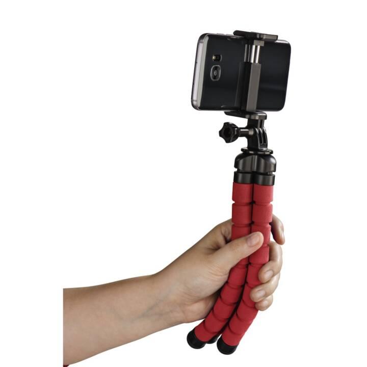 """Trépied HAMA """"Flex"""" pour Smartphone et GoPro, 26 cm, rouge"""