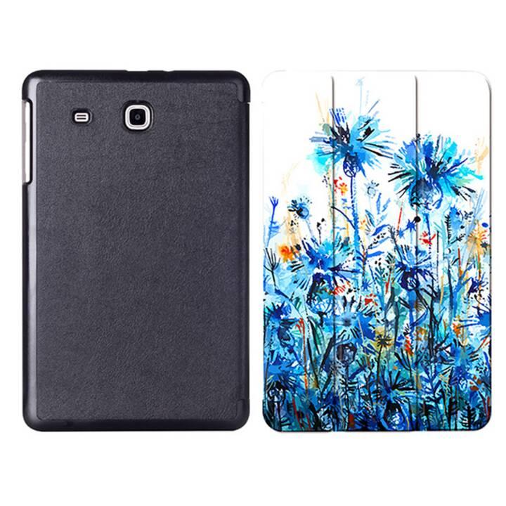 """EG MTT Sacoche à comprimés avec couvercle rabattable pour Samsung Galaxy Tab E 9.6"""" - Blue Flowers"""