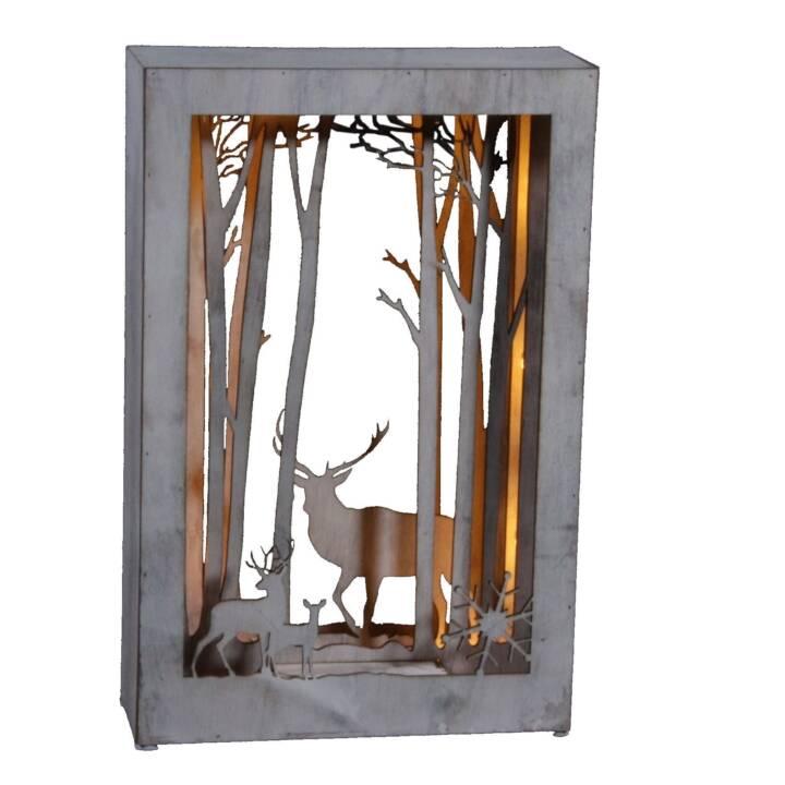 DAMECO Diorama cervo quadro 24x37 cm, lavaggio bianco