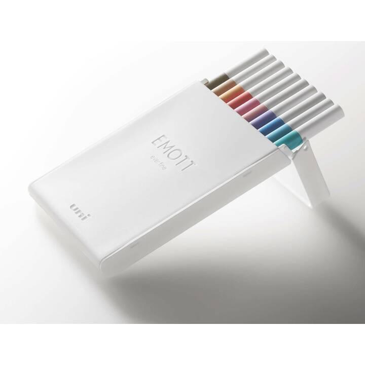 UNI Emott Soft Pastell Filzstift (Orange, Braun, Blau, Pink, Schwarz, Rot, Rosa, Hellblau, Violett, Türkis, 10 Stück)