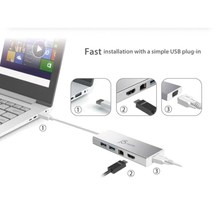 J5 CREATE JUD380 USB 3.0 (3.1 Gen 1) Type-A Aluminium Notebook-Dockingstation & Portreplikator