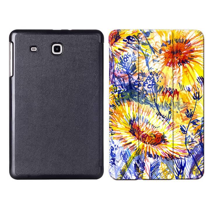 """EG MTT Tablet Tasche mit faltbarer Abdeckung für Samsung Galaxy Tab E 9.6 """"- Gelbe Blumen"""