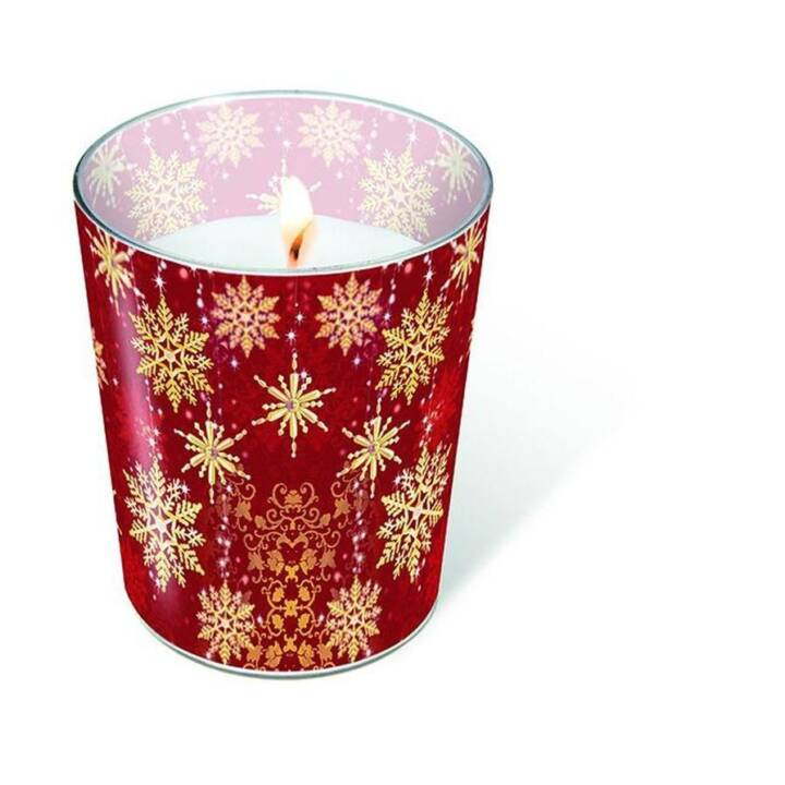 PAPER + DESIGN Weihnachtskerze Golden snowflakes Rot Gold